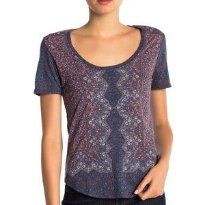 Lucky Brand T Shirt Purple Allover Print Tee Sz XS